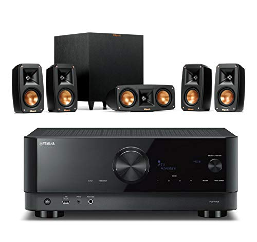 Klipsch Reference Theater Pack 5.1 Surround System Bundle with Yamaha RX-V4A 5.2-Channel AV Receiver - Black