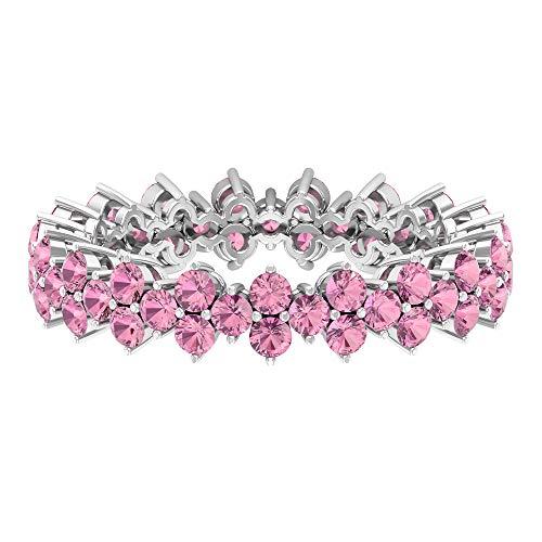 Rosec Jewels 10 quilates oro blanco redonda Pink Tourmaline