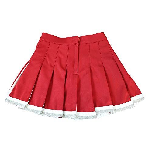 Danzcue Child Cheerleading Pleated Skirt, Scarlet-White, Medium
