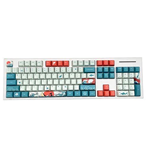 BAOD PBT keycaps, 104 Tasten Doubleshot OEM Profil Hintergrundbeleuchtung PBT Tastenkappen Set für MX Switches Mechanische Gaming Tastatur-Coral Sea