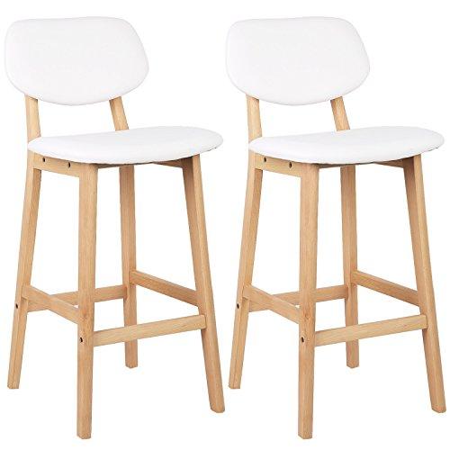 WOLTU® BH51ws-2 2 x Barhocker 2er Set Barstühle gut gepolsterte Sitzfläche und Rücklehne aus Kunstleder Design Stuhl Holz Weiß