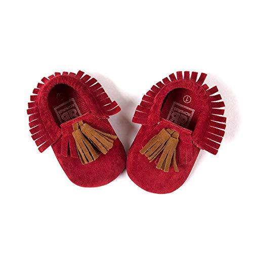 Eternitry Zapatos de bebé con Flecos, Parte Inferior Suave, Antideslizantes, Parte Inferior Suave, Rojo, 11