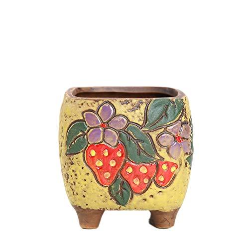 Haucy Blumentöpfe, Keramik Übertöpf für Innen, DIY Handbemalte Blumentopf für Innen und Außen Dekoration, Sukkulenten Blumenübertopf, 1 Stück