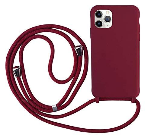 Ququcheng Funda Compatible con iPhone 12 Mini(5,4'),Ajustable Collar Correa de Cuello Cordón Cuerda Carcasa TPU Bumper Silicona Skin Caso para iPhone 12 Mini(5,4')-Rojo
