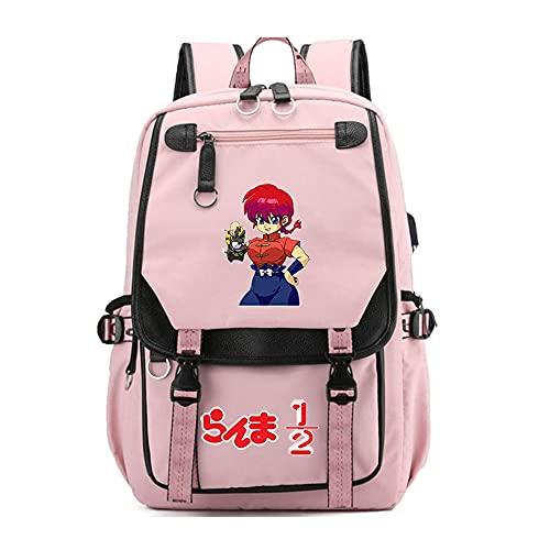 CXWLK Ranma Nibun-no-Ichi Unisex Rucksack Daypack Wasserdichter Schulrucksack Rucksack Damen Herren Daypack Mit Laptopfach Für Schule Pink 46CMX31CMX19CM