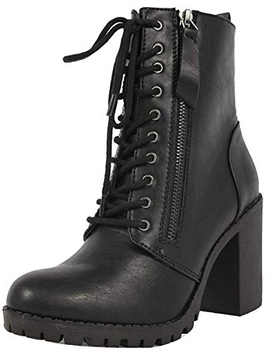 SODA Women's Malia Faux Leather Lace Up Chunky Ankle Boot, Black, Size 8.0