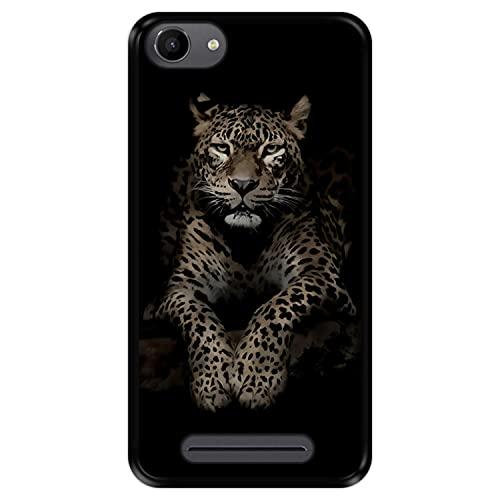 Hapdey silikon Hülle für [ Wiko Jerry - Lenny 3 - K-Kool ] Design [ Leopard beobachtet die Beute ] Schwarze Flexibles TPU