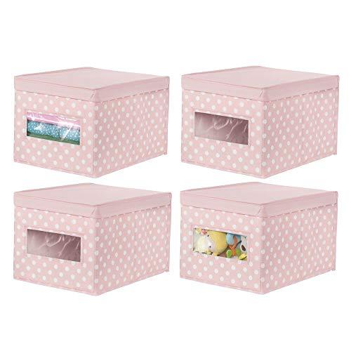 mDesign Juego de 4 Cajas organizadoras apilables – Organizador de armarios Grande para habitación Infantil – Caja con Tapa abatible y Ventana para Guardar Ropa – Rosa/Lunares Blancos