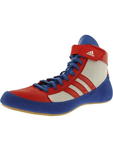 adidas Men's HVC Blue/Vivid Red FTW White High-Top Wrestling Shoe - 10.5M