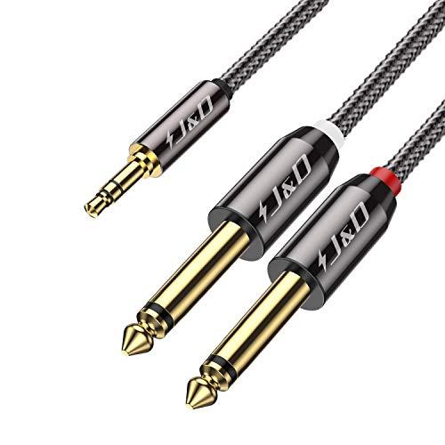 J&D Cable de Divisor 3,5 mm TRS Macho a 2 x 6,35 mm TS Macho Mono con Carcasa de Aleación de Zinc y Trenza de Nylon para Amplificadores, Altavoces, Mesa de Mezcla, 0.9 Meter