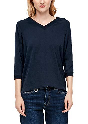 s.Oliver Damen Blusenshirt mit V-Ausschnitt Navy 40