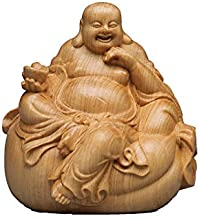 ZGPTX Statue Decoration Yuanbao Sitting Laughing Buddha Solid Wood Carving Home Wood Carving Redwood Crafts