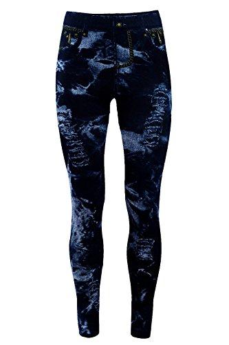 Bongual Damen Jeggings Jeans Optik Leggings Schlupfhose Treggings Sterne, Ethno, Blumen (One Size (36-42), Batik)