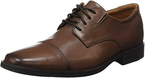 Clarks Men's Tilden Cap Oxford Shoe,Dark Tan Leather,9 M US