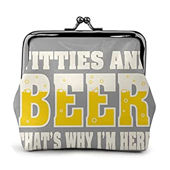 Titties & Beer That S Why I M Here Coin Purse Coin Purse Wallet Leather Card Holder Kiss Lock Coin Purse
