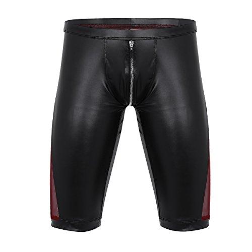 iEFiEL Herren Unterwäsche Metallic Boxer Shorts Push up Leder Unterhose Hipster Bikinislip Badeshorts Strand Hose Schwarz Schwarz Large