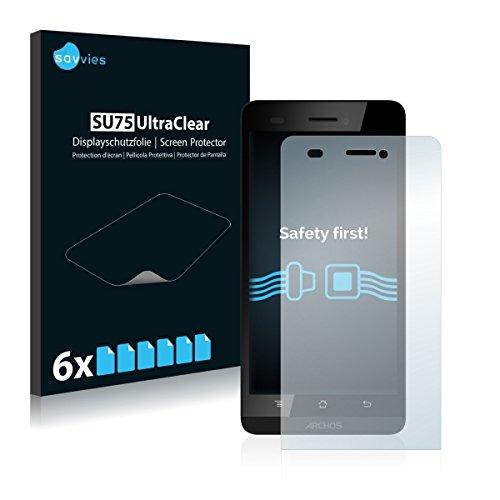 6X Savvies SU75 UltraClear Bildschirmschutz Schutzfolie für Archos 50 Helium 4G (ultraklar, mühelosanzubringen)