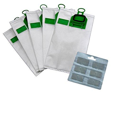 Bolsas para aspiradora, de microvellón, 6unidades y 6bloques aromáticos, adecuada para tu Vorwerk Kobold 140, 150, VK 140, VK 150