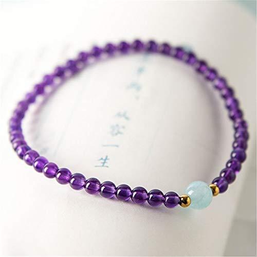 Pulsera de cristal Feng Shui riqueza Pulsera Amatista Natural Healing Aquamarine Chakra 4 mm Cuentas Lucky Charms atraer la buena suerte amor brazalete de regalo joya para las mujeres / niñas