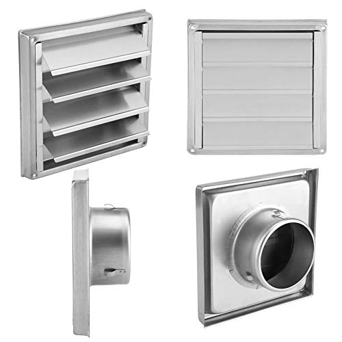 GOTOTOP 100mm Air Vent Duct Grill Stainless Steel Wall Air Vent Square Tumble Dryer Extractor Fan Outlet for Bathroom Kitchen Vents Extractor,Air Con Units,Electric Dryers,Cooker Hood Extractors