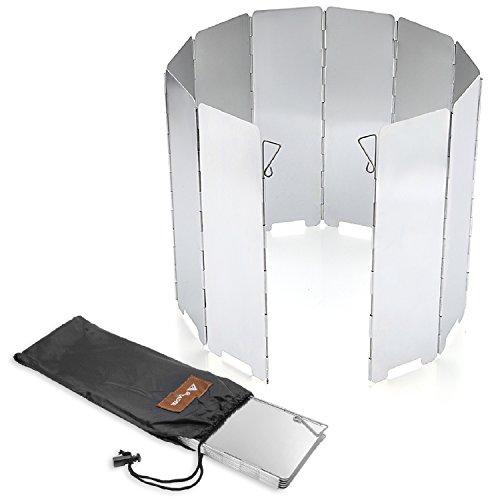SOLEADER Camping gaskocher windschutz faltbarer alu-windschutz 10 Platten