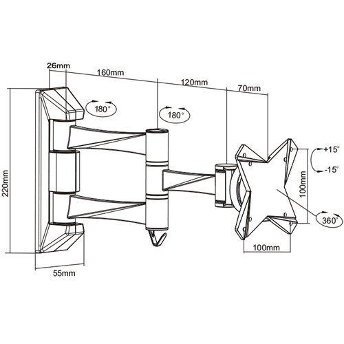 『テレビ 壁掛け 金具 STARPLATINUM 液晶 TV モニター 13-32インチ対応 TVセッターFS NA113 SSサイズ シルバー』の3枚目の画像