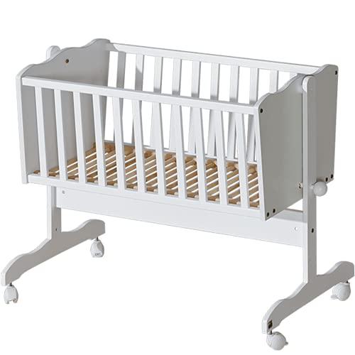Federwiege baby, Beistellbett baby mit rollen | Weiß Babywiege Stubenwagen mit Feststellfunktion | Baby ausstattung & wiege | Holz Kinder Bett [40x90] | Babybett von ATB für Mädchen & Jungen