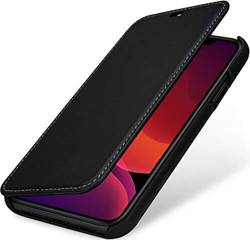 StilGut Book Hülle kompatibel mit iPhone 11 Hülle aus Leder zum Klappen, Klapphülle, Handyhülle, Lederhülle, dünn - Schwarz Nappa