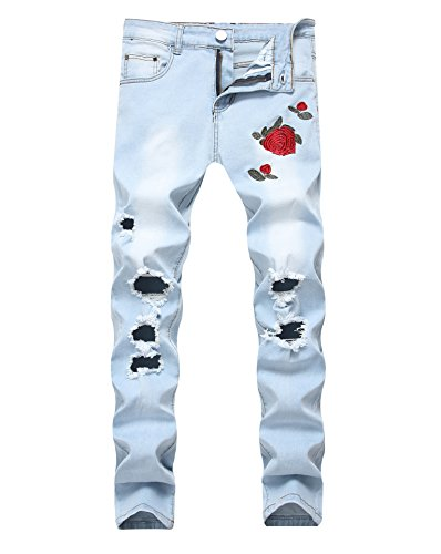 Sarriben Men's Slim Fit Stretch Pants Ripped Black Jeans with Floral Rose Embroidery, Blue, 32
