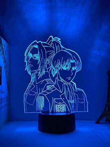 Lámpara de ilusión de luz nocturna 3D Anime Led Attack On Titan Levi Ackerman lámpara acrílica 3d colgante Zoedecoración de la habitación del hogar luz regalo para niños