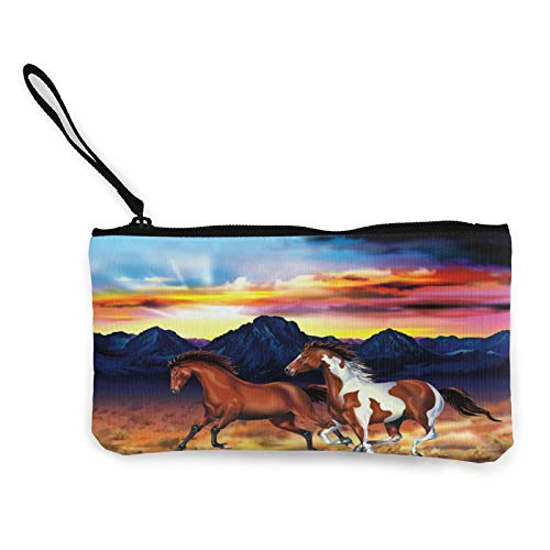 Sunset Run Horse Womens Coin Change Purse Pouch Multipurpose Toiletry Bags Wallet Craft Bag