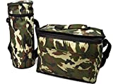 Borsa mimetica da 8 litri per il pranzo isolata per frigorifero militare e 1,5 bottiglie refrigeranti per picnic campeggio congelatore cibo contenitore