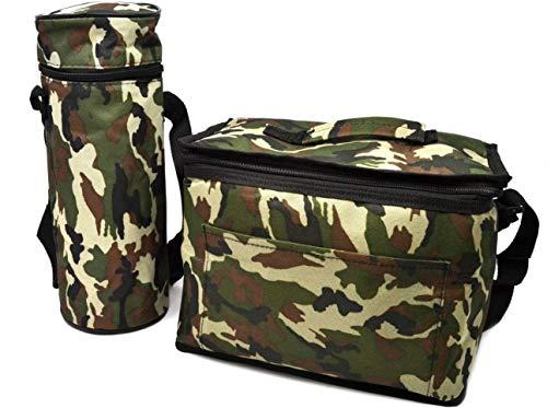 Camuflaje Bolsa 8 ltr almuerzo aislada nevera militar y 1.5 botellas Enfriador Picnic camping congelador comida envase