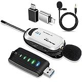 ワイヤレスマイク USB Alvoxcon ピンマイク 無線 iPhone パソコン Android イヤホン端子付きPCマイク UHF 録音録画 拡声 モニタリング 軽量 日本語説明書 UM310Pro