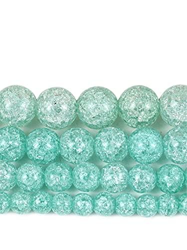 Cuentas de piedra sueltas redondas de cristal agrietado de color verde claro natural para hacer joyas de 6 mm a 12 mm DIY pulsera collar 15 pulgadas verde claro 12 mm aproximadamente 30 cuentas