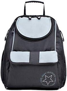 حقيبة ظهر للامهات لوضع مستلزمات الطفل، رمادي واسود