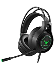 Kikc Gaming headsets PS4 Stereo Xbox one Headset Wired PC Gaming Headphones with Noise Canceling Mic, Over Ear Gaming Headphones for PS4/PS5/Xbox one/PC/MAC