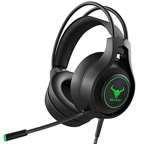 Kikc - Cuffie da gaming, stereo, per PS4 e Xbox One, con filo, con microfono a cancellazione del rumore, cuffie over ear da gaming, per PS4/PS5/Xbox One/PC/MAC