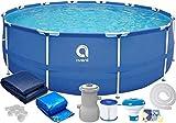 Avenli Piscine Tubulaire Frame Pool - 305x76 cm - avec filtres et Pompe - avec Couvercle - Bleu - Metal Frame Ronde
