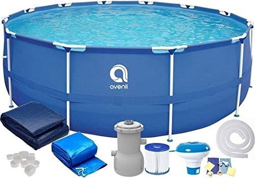 Avenli Frame Pool 305x76 cm mit Filtern & Pumpe einrichten - mit Abdeckung - Blau