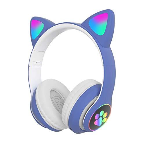 Cuffie da gioco senza fili per ragazza, con grazioso gatto con luci a LED, con cancellazione del rumore, cuffie stereo da gioco, alla moda Bluetooth 5.0 per bambini e adulti