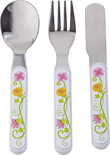 HABA 300385 - Besteck Vicki & Pirli, Kinderbesteck aus Edelstahl mit Blumenmotiven, Set aus Gabel, Messer und Löffel, spülmaschinengeeignet