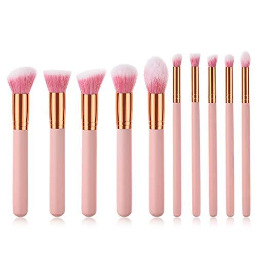 Make Up Brush Set Multifonctions 10 pinceaux de maquillage, outils de beauté, poignée en bois, Poudre Ombre à paupières brosse, super lisse,