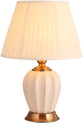 Lampe de Chevet Lampe de Chevet Table avec Simple Tissu Abat, Chambre Lumière Céramique Lampe de Bureau Nightstand Chambre Salon Lampe de Bureau (Color : Beige, Taille : Push Button)