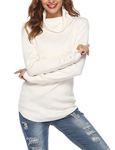 LYHNMW Women Cowl Neck Mock Turtleneck Long Sleeve Lightweight Knit Stretchable Sweater Tops Pullover Creamy White