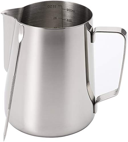Nicunom Milk Frothing Pitcher 32oz Stainless Steel Steaming Pitcher with Decorating Art Pen Milk Coffee Cappuccino Latte Art Barista Steam Pitchers Milk Jug Cup for Espresso Machines Latte Art