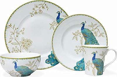 222 FIFTH Peacock Garden White 16 Piece Porcelain Dinnerware Set, Service for 4