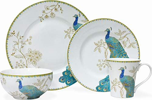 222 FIFTH Peacock Garden White 16 Piece Porcelain Dinnerware Set, Service for 4