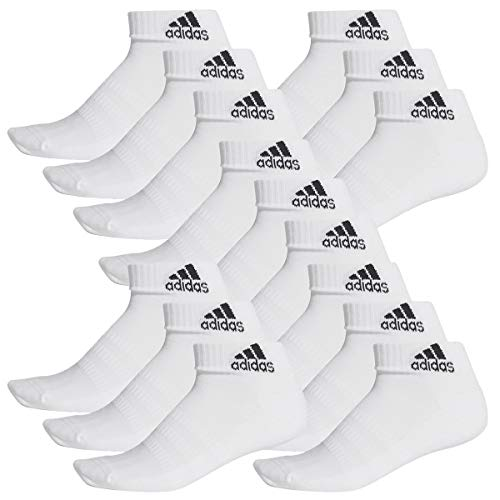 adidas 15 Paar Performance Sneaker/Quarter Socken Unisex Kurzsocke, Farbe:White, Socken & Strümpfe:43-45