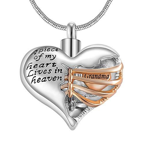Eternaloved A Piece of My Heart Lives in Heaven Memorial Urn Heart Cremation Necklace,Men/Women Pendant (Grandma)